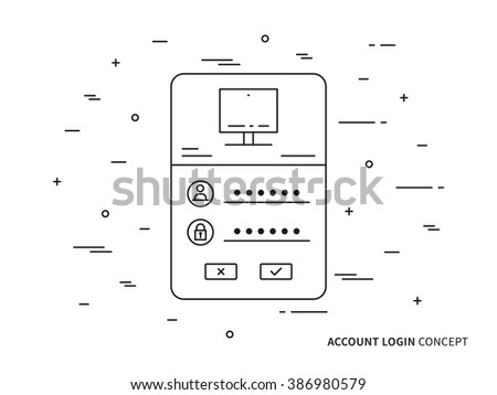 Login website page vector linear (line) illustration. Password access technology creative concept. Register web interface (log in, form, window, lock) graphic design. - stock vector