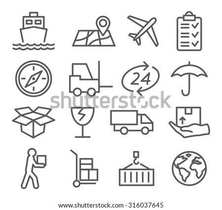 Logistic and Delivery line icons - stock vector