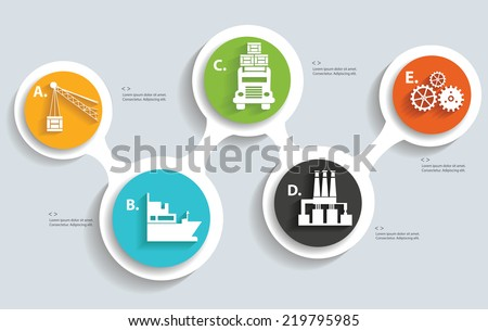 Logistic and industry info graphics design,clean vector - stock vector