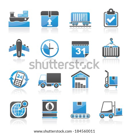 Logistic and Shipping icons - vector icon set - stock vector