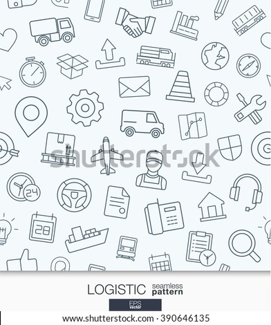Logistic business wallpaper. Delivery and distribution seamless pattern. Tiling textures with thin line web icons set. Vector illustration. Abstract background for mobile app, website, presentation - stock vector