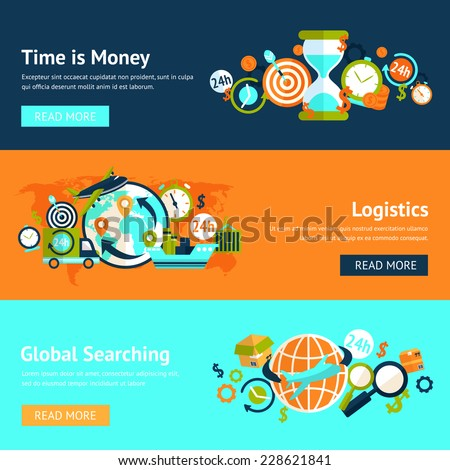 Logistic chain shipping freight service supply delivery banner set isolated vector illustration - stock vector