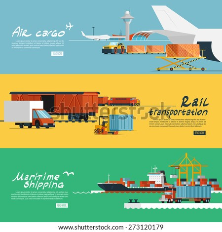 Logistic concept flat banners set of maritime rail and air transport delivery services abstract isolated vector illustration - stock vector