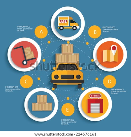 Logistic concept on blue background,clean vector - stock vector