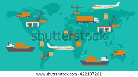 Logistic concept production process from factory to the shop. Top view world map with warehouse, ship, truck, aircraft and car. Wide flat vector illustration for info graphic, web, business, banner - stock vector