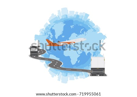 Logistic concept big truck world map stock vector 719955061 logistic concept with big truck and world map flat vector illustration eps 10 gumiabroncs Gallery