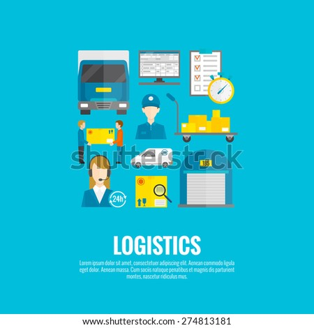 Logistic concept with flat delivery and transport system icons set vector illustration - stock vector