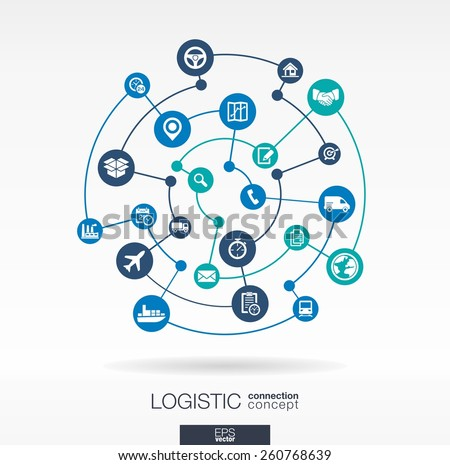 Logistic connection concept. Abstract background with integrated circles and icons for delivery, service, shipping, distribution, transport, communicate concepts. Vector interactive illustration - stock vector