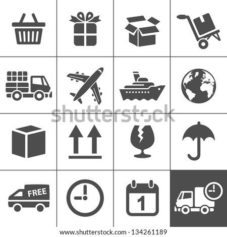 Logistic & delivery icons. Vector illustration. Simplus series - stock vector
