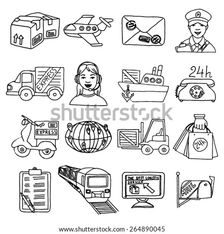 Logistic delivery transportation cargo container sketch decorative icons set isolated vector illustration - stock vector