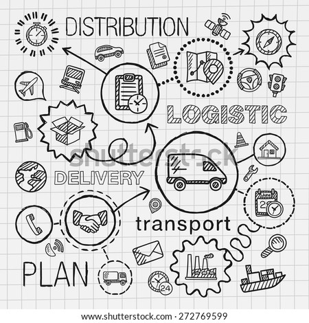 Logistic hand draw integrated icons set. Vector sketch infographic illustration with line connected doodle hatch pictograms on paper: distribution, shipping, transport, services, container concepts - stock vector