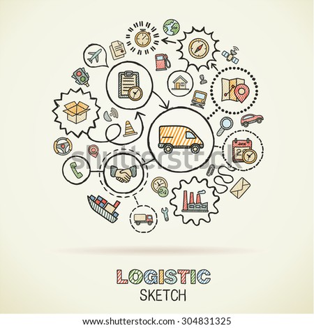 Logistic hand drawing hatch icons. Vector doodle integration pictogram set. Sketch sign connection illustration on paper: delivery, service, shipping, distribution, transport, communicate concepts - stock vector