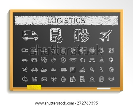 Logistic hand drawing line icons. Vector doodle pictogram set: chalk sketch sign illustration on blackboard with hatch symbols: ship, truck, mobile, transport, shipping. - stock vector
