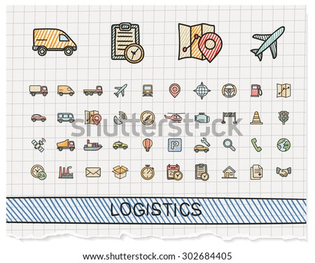 Logistic hand drawing line icons. Vector doodle pictogram set: color pen sketch sign illustration on paper with hatch symbols: ship, truck, mobile, transport, shipping. - stock vector