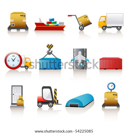 logistic icons - stock vector