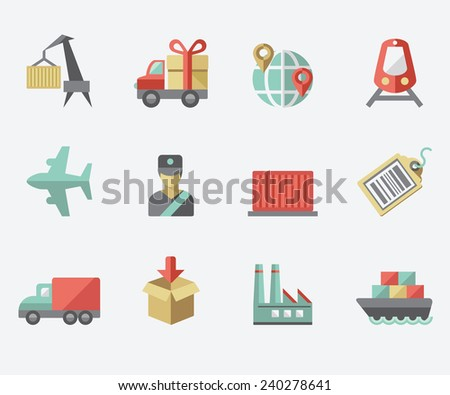 Logistic icons, flat design - stock vector