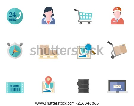Logistic icons in flat color style - stock vector