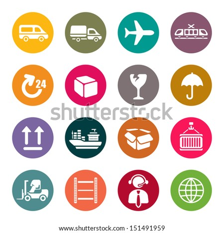 Logistic icons set - stock vector