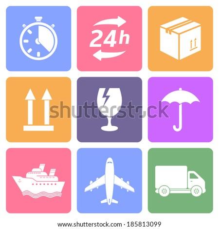 Logistic icons set, flat design vector - stock vector