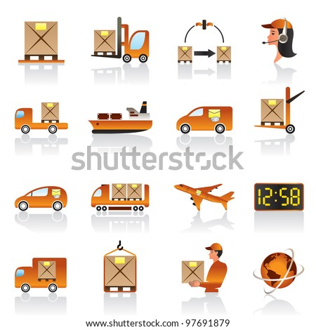 Logistic icons set - vector illustration - stock vector