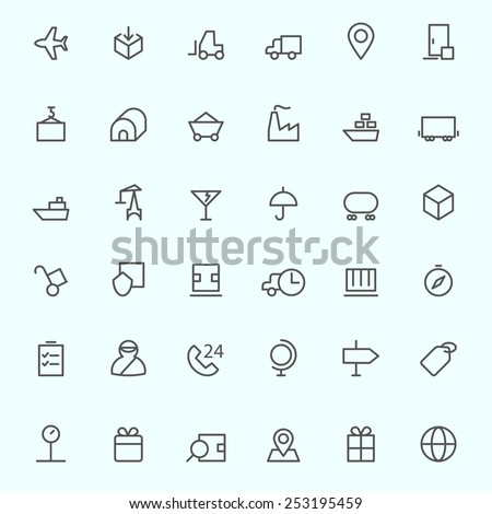 Logistic icons, simple and thin line design - stock vector