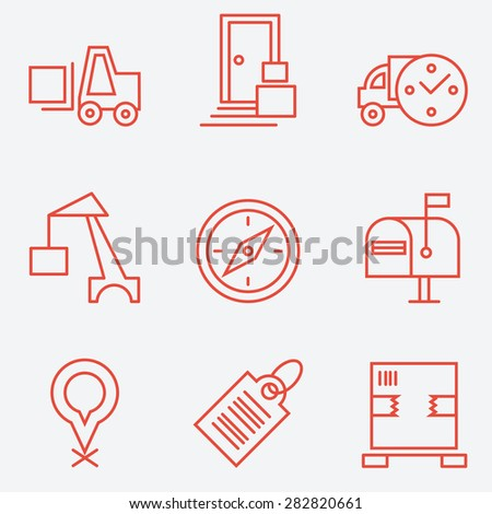 Logistic icons, thin line style, flat design - stock vector