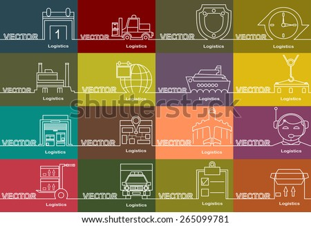logistic icons thin line style, flat design and space for text. Flat design.Banners - stock vector