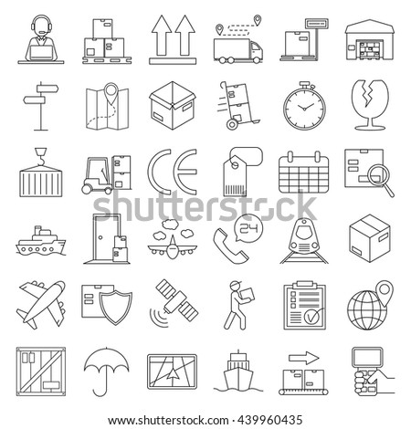 Logistic icons. Warehouse and shipping equipment. Storage scales, dolly, tag, forklift, crane and other things. Line art vector illustration. - stock vector
