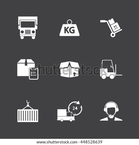 Logistic icons, White icons on black background