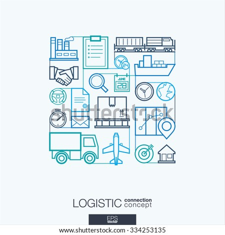 Logistic integrated thin line symbols. Modern linear style vector concept, with connected flat design icons. Illustration for delivery, service, shipping, distribution, transport, communicate concepts - stock vector
