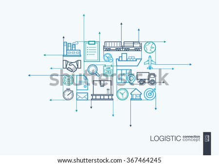 Logistic integrated thin line symbols. Motion arrows vector concept, with connected flat design icons. Illustration for delivery, service, shipping, distribution, transport, communicate concepts - stock vector