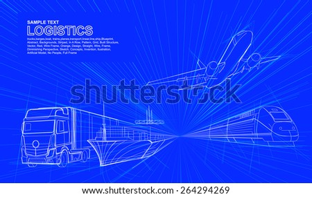 logistic line drawing - stock vector