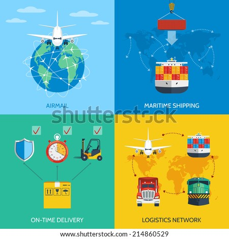 Logistic network airmail maritime shipping on-time delivery flat icons set isolated vector illustration - stock vector