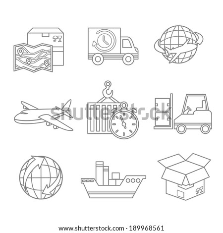 Logistic outline icons set of map 24h delivery and worldwide service symbol isolated vector illustration - stock vector
