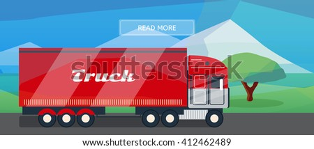 Logistic routes lorry banner. Logistics truck banner for industry, web and print. Flat style vector illustration of a cargo lorry.  - stock vector