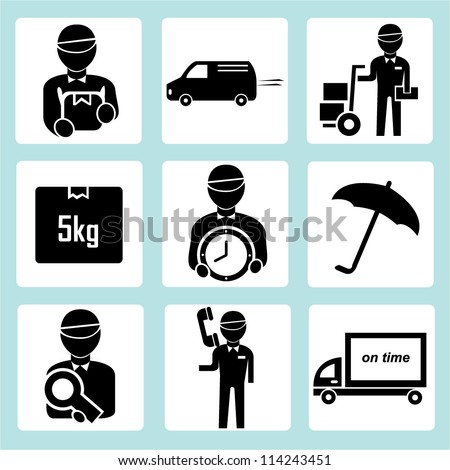 logistic, shipping icon set - stock vector