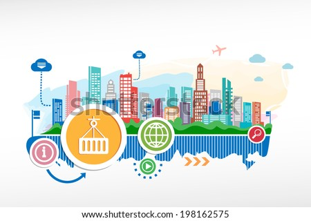 Logistic symbol and cityscape background with different icon and elements. Design for the print, advertising. - stock vector