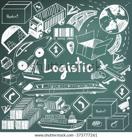 Logistic, transportation, and inventory management chalk handwriting doodle icon cargo object sign and symbol in blackboard background for business presentation title or education with header (vector)