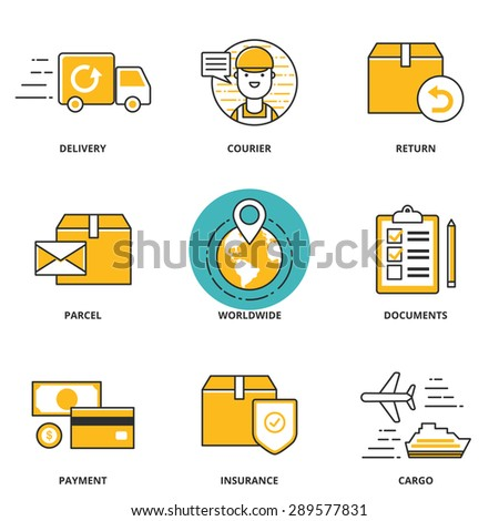 Logistics and delivery vector icons set: delivery, courier, return, parcel, worldwide, documents, payment, insurance, cargo. Modern line style - stock vector