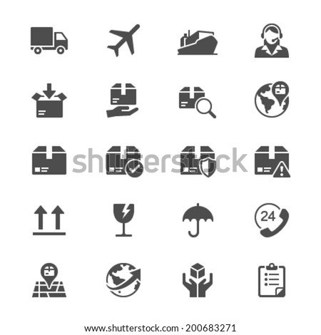 Logistics and shipping flat icons - stock vector