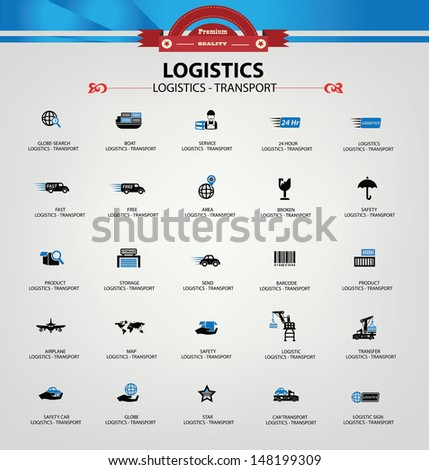 Logistics and transport icons,Blue version,vector - stock vector
