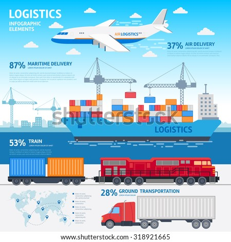 Logistics and transportation infographic elements flat vector illustration. Vector plane, train, cargo ship and car are carrying goods. on a light-blue background with a blue silhouette of the city - stock vector