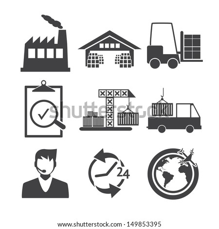 Logistics icons - Black and white series - stock vector