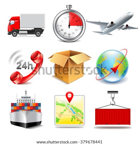 Logistics icons detailed photo realistic vector set - stock vector