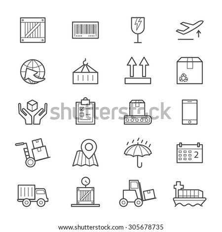 Logistics Icons Line - stock vector