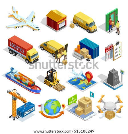 Logistics isometric icons set of different transportation distribution vehicles and delivery elements isolated vector illustration