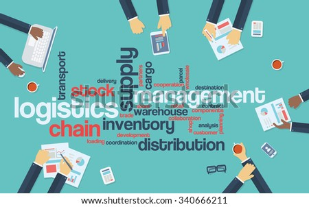Logistics management business vector background with wordcloud and businessmen on a meeting. Eps10 vector illustration. - stock vector