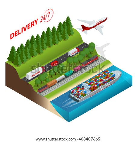 Logistics network.  Air cargo trucking, rail transportation, maritime shipping, cargo trucks. Ontime delivery. Vehicles designed to carry large numbers cargo. Flat 3d isometric vector illustration. - stock vector