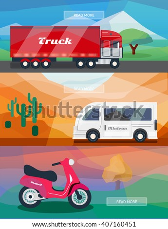 Logistics routes banners set. Business banners with truck, minivan and courier moped. Low polygon vector illustrations for logistics use. - stock vector