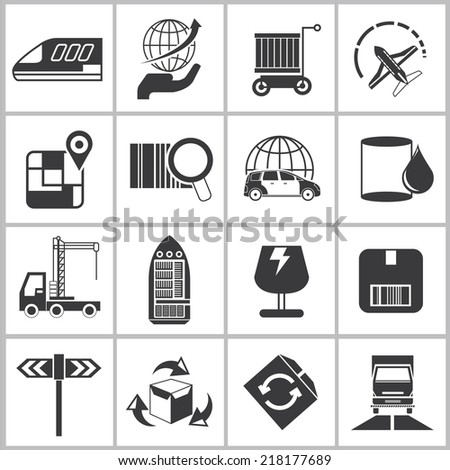 logistics shipping icons set, delivery icons - stock vector